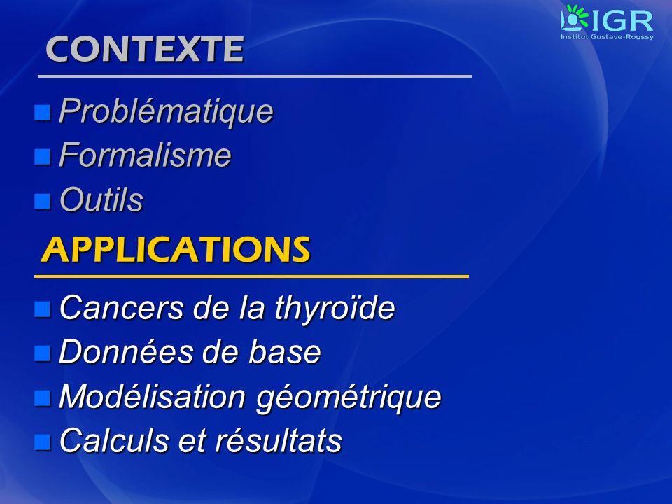 CONTEXTE Problématique Problématique Formalisme Formalisme Outils Outils Cancers de la thyroïde Cancers de la thyroïde Données de base Données de base