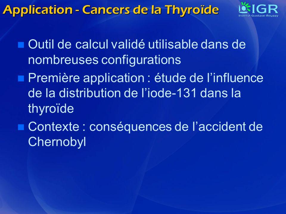 Application - Cancers de la Thyroïde Outil de calcul validé utilisable dans de nombreuses configurations Première application : étude de linfluence de