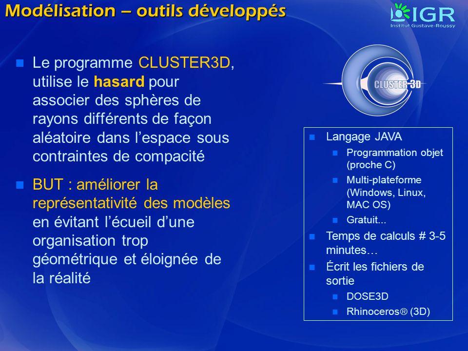 Modélisation – outils développés Le programme CLUSTER3D, utilise le hasard pour associer des sphères de rayons différents de façon aléatoire dans lesp