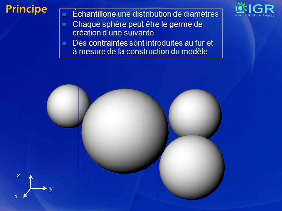 Principe Échantillone une distribution de diamètres Échantillone une distribution de diamètres Chaque sphère peut être le germe de création dune suiva