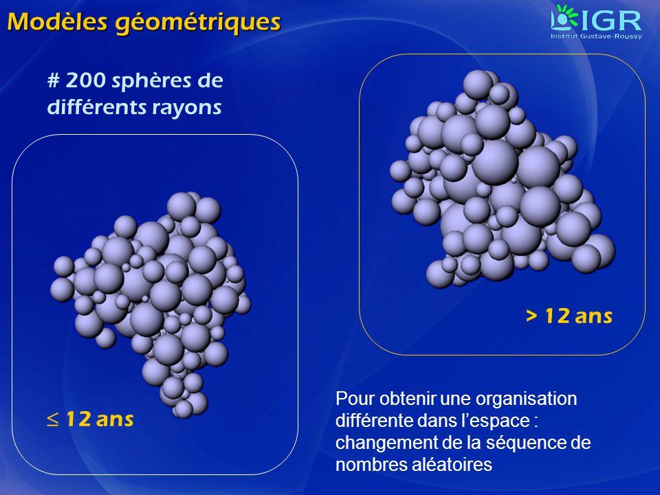 Modèles géométriques 12 ans > 12 ans # 200 sphères de différents rayons Pour obtenir une organisation différente dans lespace : changement de la séque