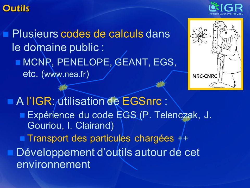 Outils Plusieurs codes de calculs dans le domaine public : MCNP, PENELOPE, GEANT, EGS, etc. ( www.nea.fr ) A lIGR: utilisation de EGSnrc : Expérience