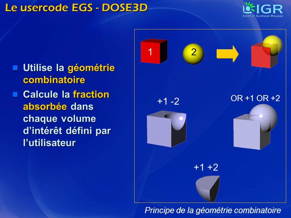 Le usercode EGS - DOSE3D Utilise la géométrie combinatoire Utilise la géométrie combinatoire Calcule la fraction absorbée dans chaque volume dintérêt