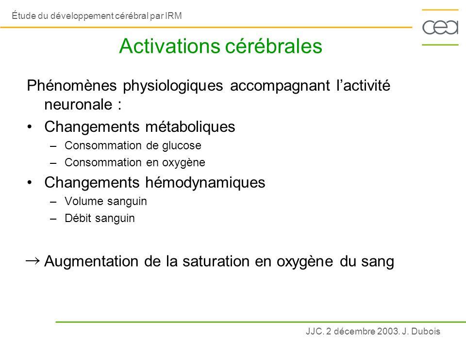 JJC. 2 décembre 2003. J. Dubois Étude du développement cérébral par IRM Activations cérébrales Phénomènes physiologiques accompagnant lactivité neuron