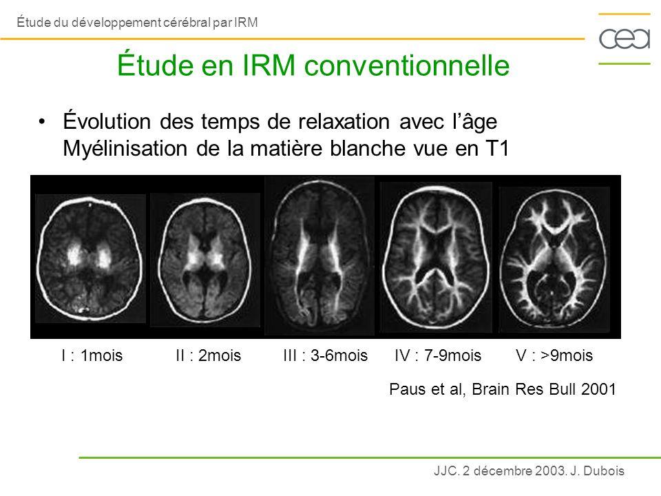 JJC. 2 décembre 2003. J. Dubois Étude du développement cérébral par IRM Étude en IRM conventionnelle I : 1moisII : 2moisIII : 3-6moisIV : 7-9moisV : >