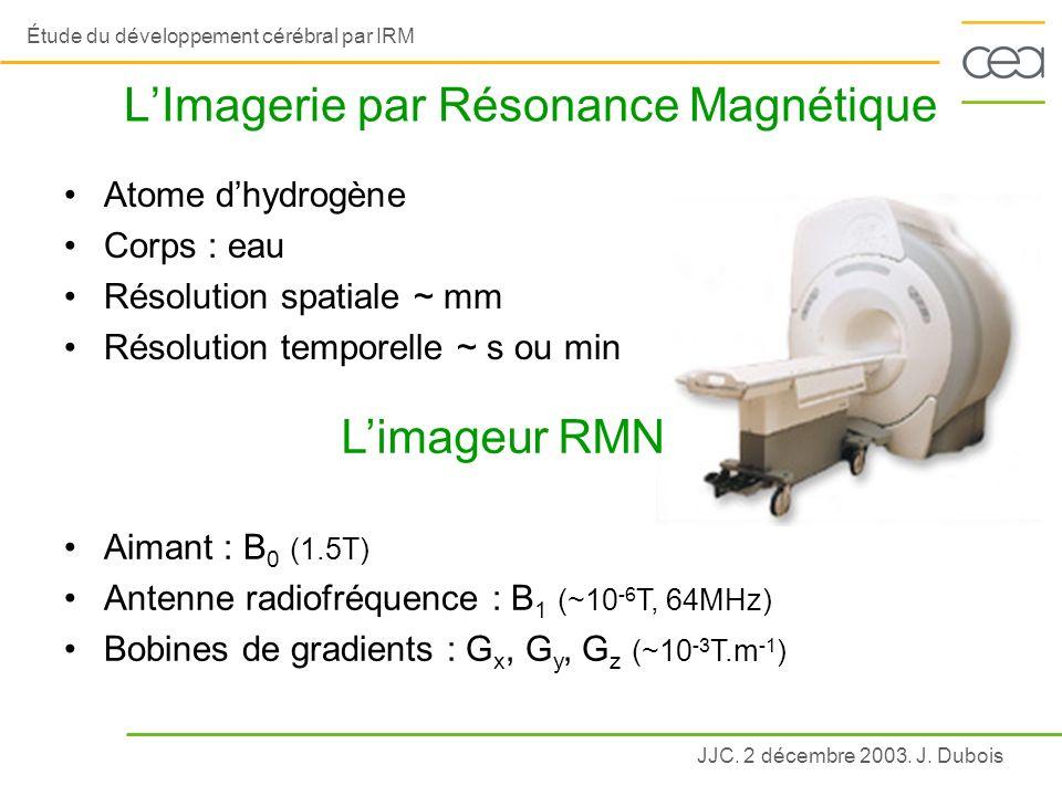 JJC. 2 décembre 2003. J. Dubois Étude du développement cérébral par IRM LImagerie par Résonance Magnétique Atome dhydrogène Corps : eau Résolution spa