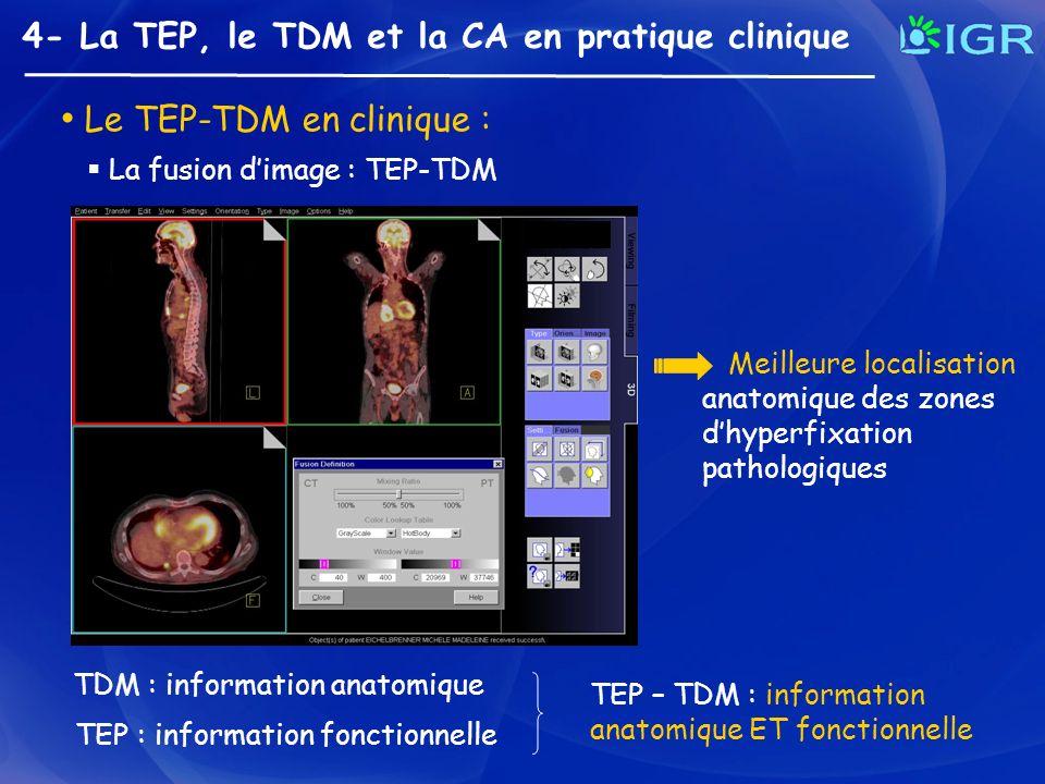 4- La TEP, le TDM et la CA en pratique clinique Le TEP-TDM en clinique : La fusion dimage : TEP-TDM TDM : information anatomique TEP : information fon