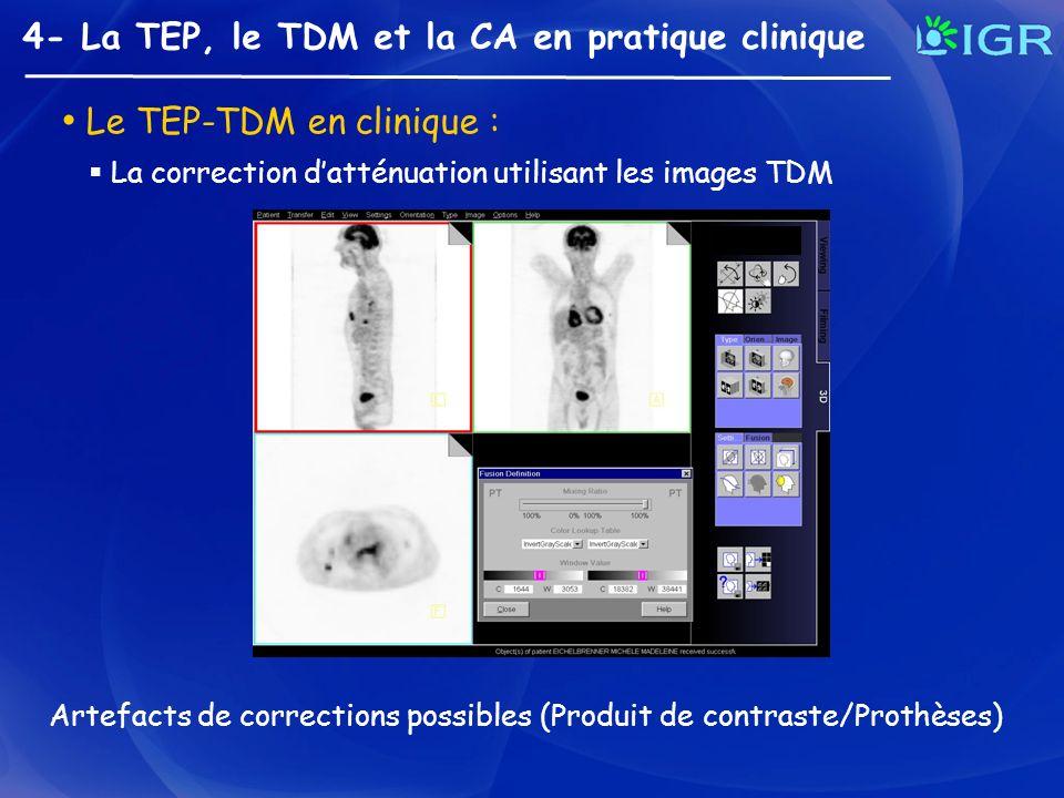 4- La TEP, le TDM et la CA en pratique clinique Le TEP-TDM en clinique : La correction datténuation utilisant les images TDM Artefacts de corrections