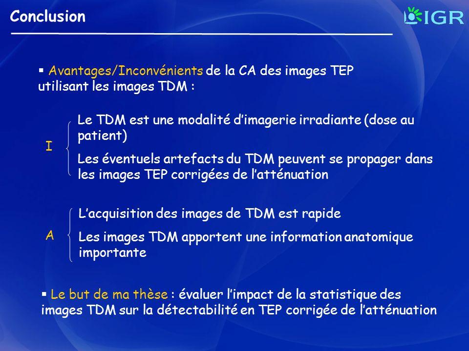 Conclusion Avantages/Inconvénients de la CA des images TEP utilisant les images TDM : Le but de ma thèse : évaluer limpact de la statistique des image