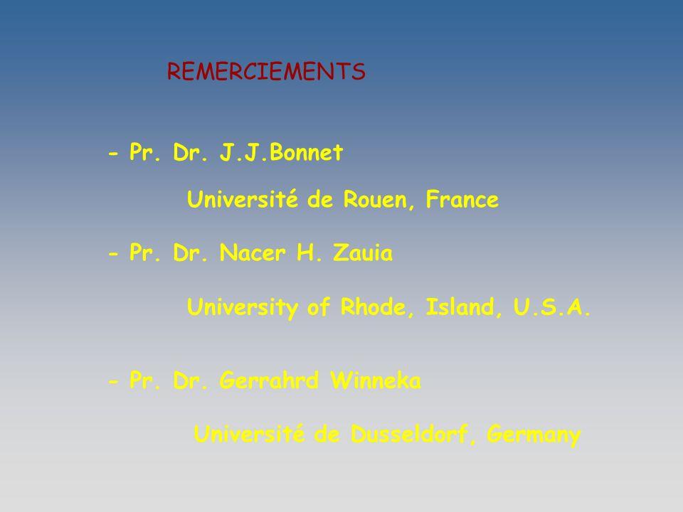 REMERCIEMENTS - Pr.Dr. J.J.Bonnet Université de Rouen, France - Pr.