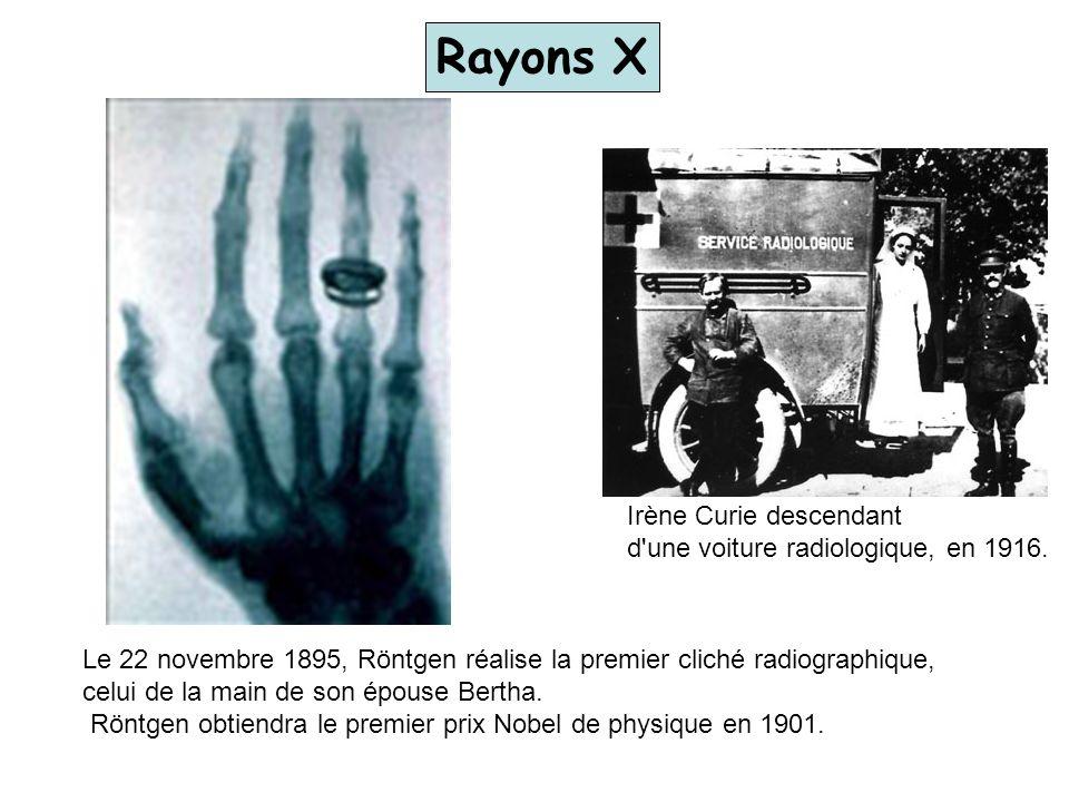 Le 22 novembre 1895, Röntgen réalise la premier cliché radiographique, celui de la main de son épouse Bertha. Röntgen obtiendra le premier prix Nobel