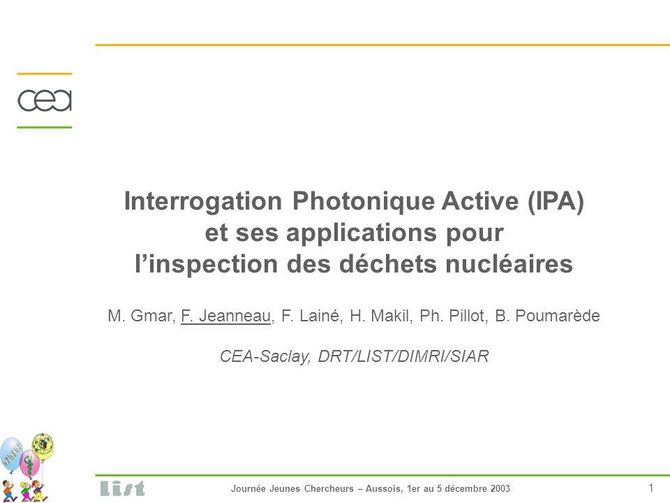 Journée Jeunes Chercheurs – Aussois, 1er au 5 décembre 2003 1 Interrogation Photonique Active (IPA) et ses applications pour linspection des déchets nucléaires M.