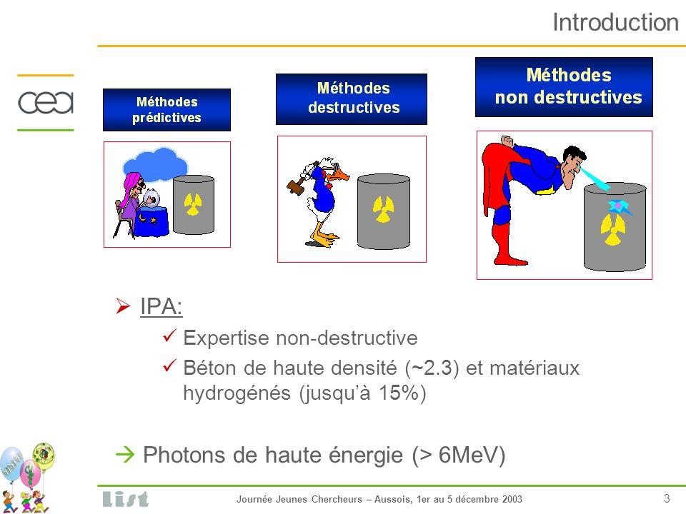 Journée Jeunes Chercheurs – Aussois, 1er au 5 décembre 2003 3 Introduction IPA: Expertise non-destructive Béton de haute densité (~2.3) et matériaux hydrogénés (jusquà 15%) Photons de haute énergie (> 6MeV)