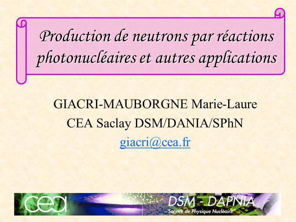02/12/03Journées jeunes chercheurs 20032 La physique des réactions photonucléaires La production de neutrons Transmutation des déchets radioactifs Détection dactinides Plan