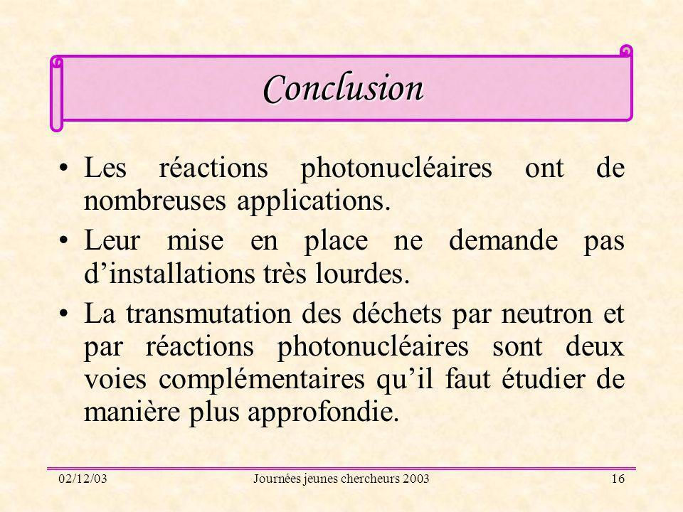 02/12/03Journées jeunes chercheurs 200316 Conclusion Les réactions photonucléaires ont de nombreuses applications. Leur mise en place ne demande pas d