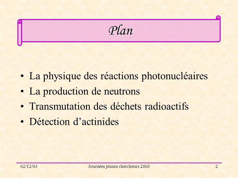 02/12/03Journées jeunes chercheurs 200313 Production de neutrons retardés par photofission Lors dune fission le noyau se sépare en deux noyaux plus des neutrons.