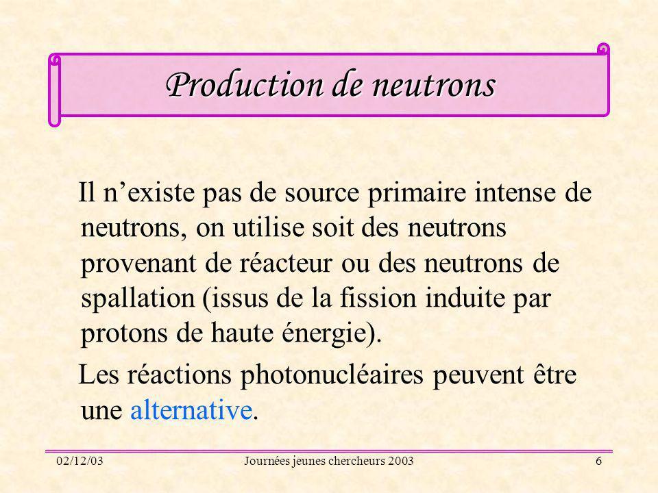 02/12/03Journées jeunes chercheurs 20036 Production de neutrons Il nexiste pas de source primaire intense de neutrons, on utilise soit des neutrons pr
