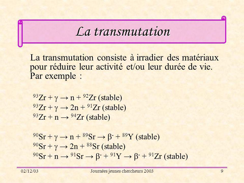 02/12/03Journées jeunes chercheurs 20039 La transmutation La transmutation consiste à irradier des matériaux pour réduire leur activité et/ou leur dur