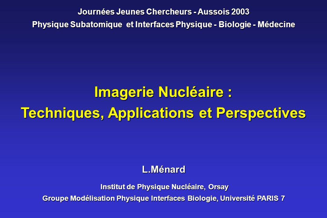 Imagerie Nucléaire : Techniques, Applications et Perspectives L.Ménard Institut de Physique Nucléaire, Orsay Groupe Modélisation Physique Interfaces B