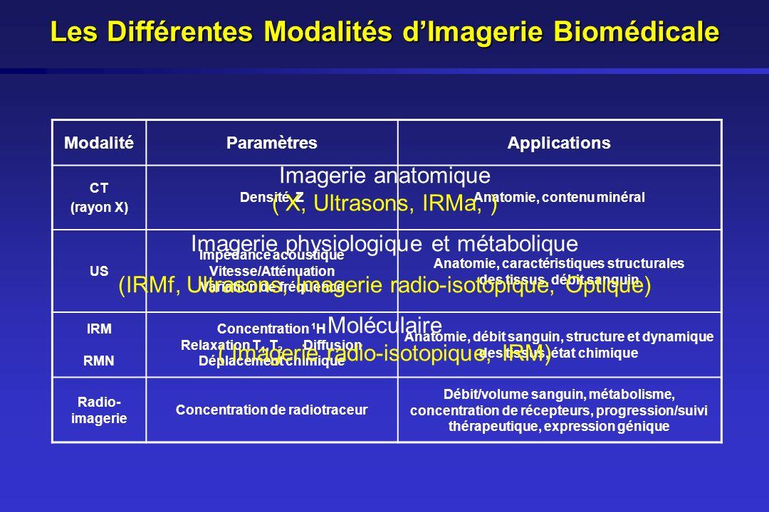 Imagerie par Résonance Magnétique Principe : Mesure des caractéristiques (amplitude, temps de relaxation) des rayonnements électromagnétiques émis lors de la relaxation de certains noyaux placés en résonance sous laction de champs magnétiques externes (champ statique + onde radio-fréquence) Sensibilité relativement faible ([c]<10 -7 mole pour IRMa et [c]<10 -6 mole pour IRMf) Temps dacquisition long (compromis durée acquisition/résolution temporelle pouvant aller de plusieurs minutes à qqs heures), examen inconfortable (bruit, claustrophobie) Coût élevé Haute résolution spatiale (<1 mm pour IRMa) Technique anatomique de référence Mesure simultanée de nombreux paramètres physiologiques ou métaboliques