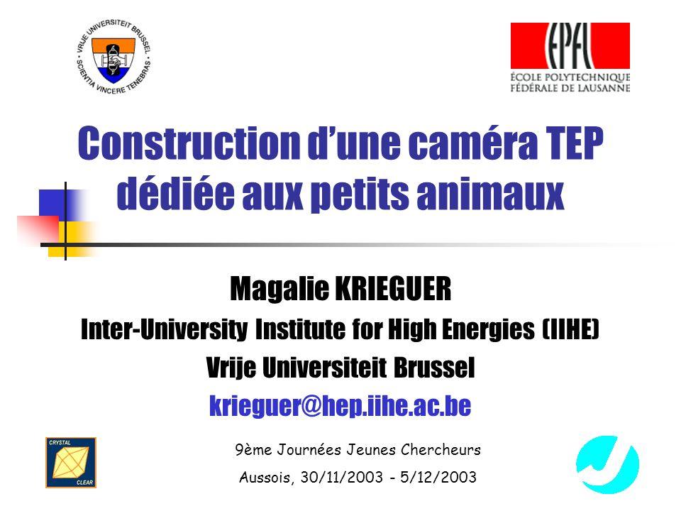 9ème Journées Jeunes Chercheurs Aussois, 30/11/2003 - 5/12/2003 Construction dune caméra TEP dédiée aux petits animaux Magalie KRIEGUER Inter-University Institute for High Energies (IIHE) Vrije Universiteit Brussel krieguer@hep.iihe.ac.be