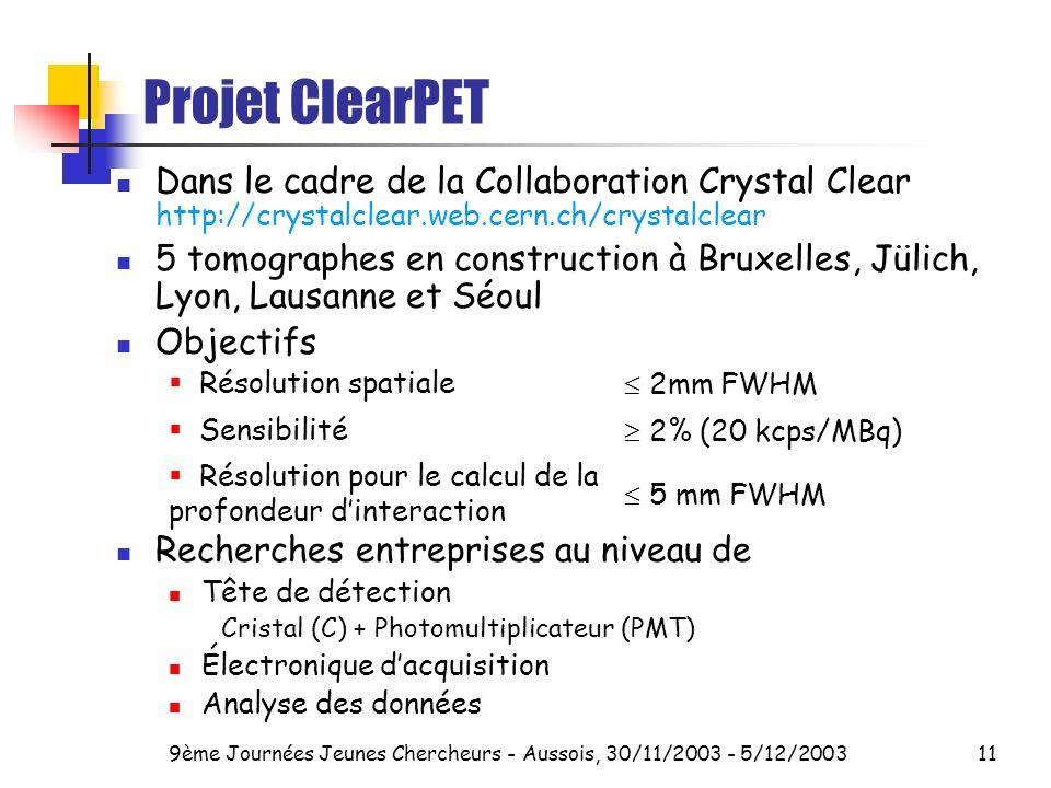 9ème Journées Jeunes Chercheurs - Aussois, 30/11/2003 - 5/12/200311 Projet ClearPET Dans le cadre de la Collaboration Crystal Clear http://crystalclear.web.cern.ch/crystalclear 5 tomographes en construction à Bruxelles, Jülich, Lyon, Lausanne et Séoul Objectifs Recherches entreprises au niveau de Tête de détection Cristal (C) + Photomultiplicateur (PMT) Électronique dacquisition Analyse des données Résolution spatiale 2mm FWHM Sensibilité 2% (20 kcps/MBq) Résolution pour le calcul de la profondeur dinteraction 5 mm FWHM