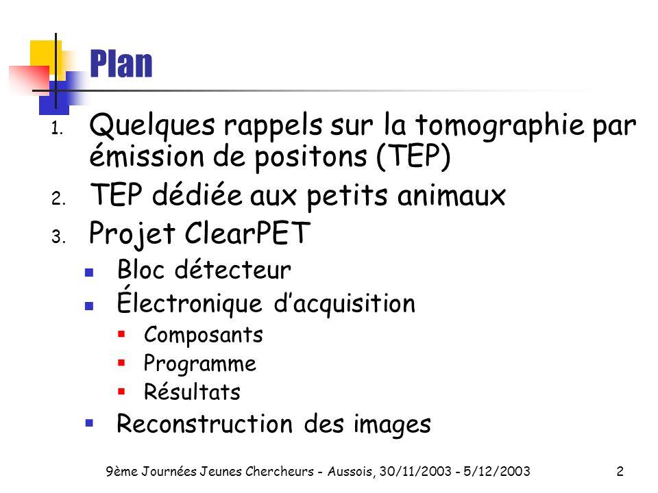 9ème Journées Jeunes Chercheurs - Aussois, 30/11/2003 - 5/12/20032 Plan 1.