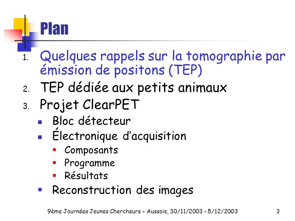 9ème Journées Jeunes Chercheurs - Aussois, 30/11/2003 - 5/12/20033 Plan 1.