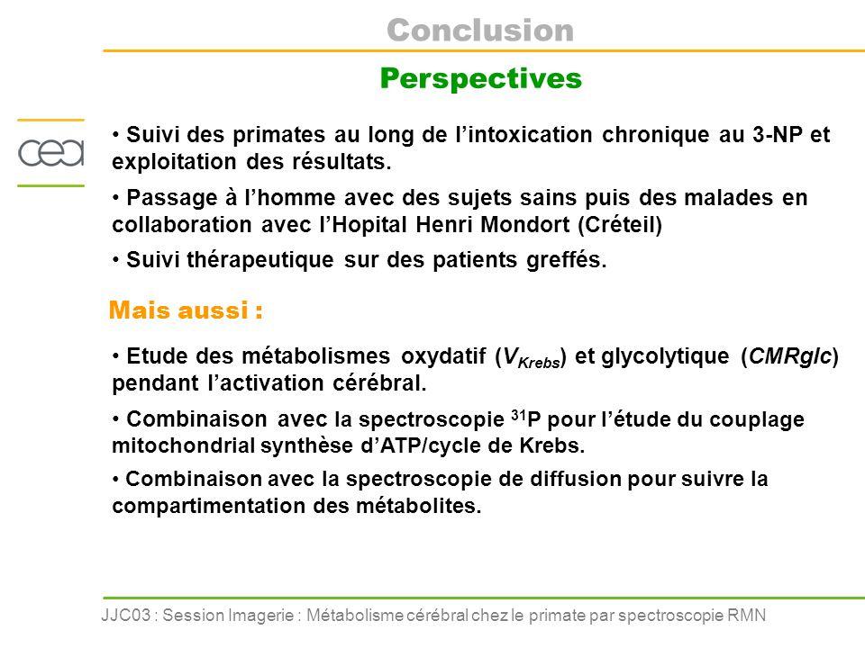 JJC03 : Session Imagerie : Métabolisme cérébral chez le primate par spectroscopie RMN Suivi des primates au long de lintoxication chronique au 3-NP et