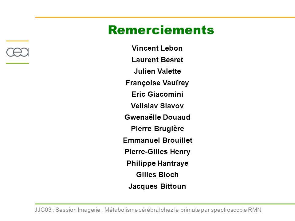 JJC03 : Session Imagerie : Métabolisme cérébral chez le primate par spectroscopie RMN Remerciements Vincent Lebon Laurent Besret Julien Valette Franço
