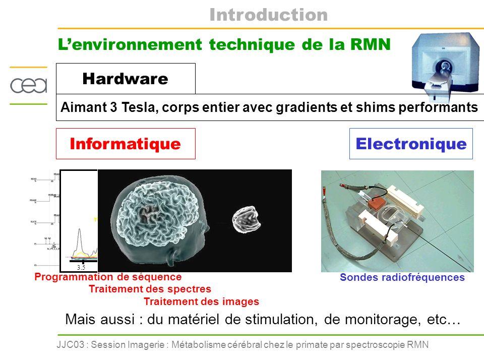 JJC03 : Session Imagerie : Métabolisme cérébral chez le primate par spectroscopie RMN Introduction Etude du métabolisme par spectroscopie RMN Concentrations des métabolites Vitesses de réactions biochimiques