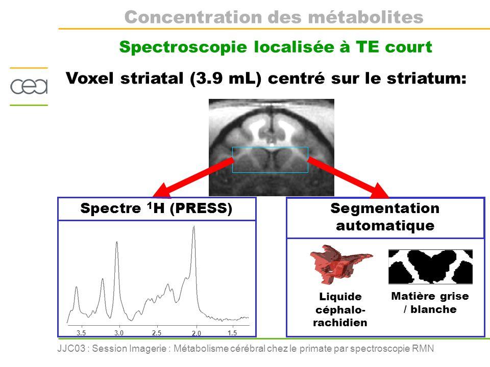 JJC03 : Session Imagerie : Métabolisme cérébral chez le primate par spectroscopie RMN Application à la maladie de Huntington La maladie de Huntington (MH) Sujet sain Malade Images Gwenaëlle Douaud CEA-SHFJ Maladie génétique Vulnérabilité des neurones striataux Huntingtine mutée Ht Atrophie du striatum Objectifs : Exploration des altérations du métabolisme cérébral Diagnostique précoce Développement pharmacologique sur modèle animal Suivi thérapeutique chez lhomme