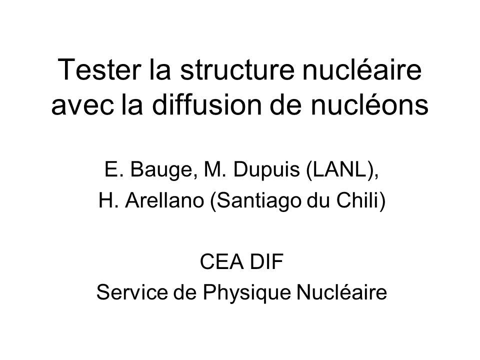Tester la structure nucléaire avec la diffusion de nucléons E. Bauge, M. Dupuis (LANL), H. Arellano (Santiago du Chili) CEA DIF Service de Physique Nu