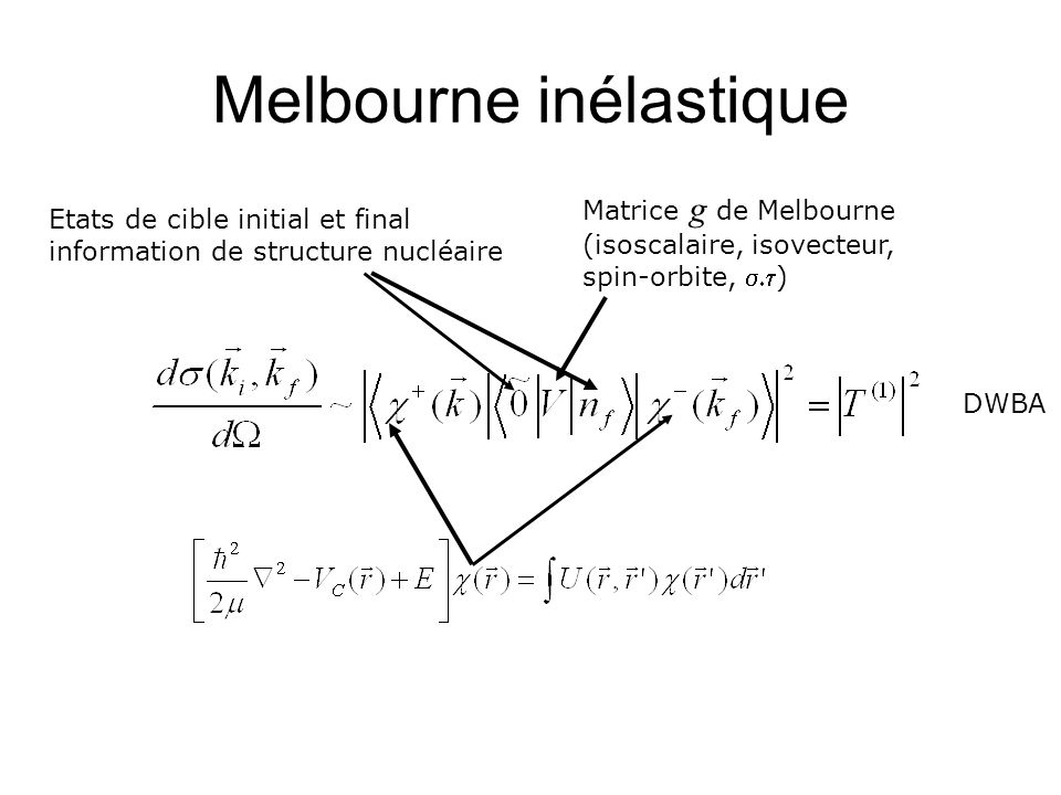 Melbourne inélastique DWBA Matrice g de Melbourne (isoscalaire, isovecteur, spin-orbite, ) Etats de cible initial et final information de structure nu