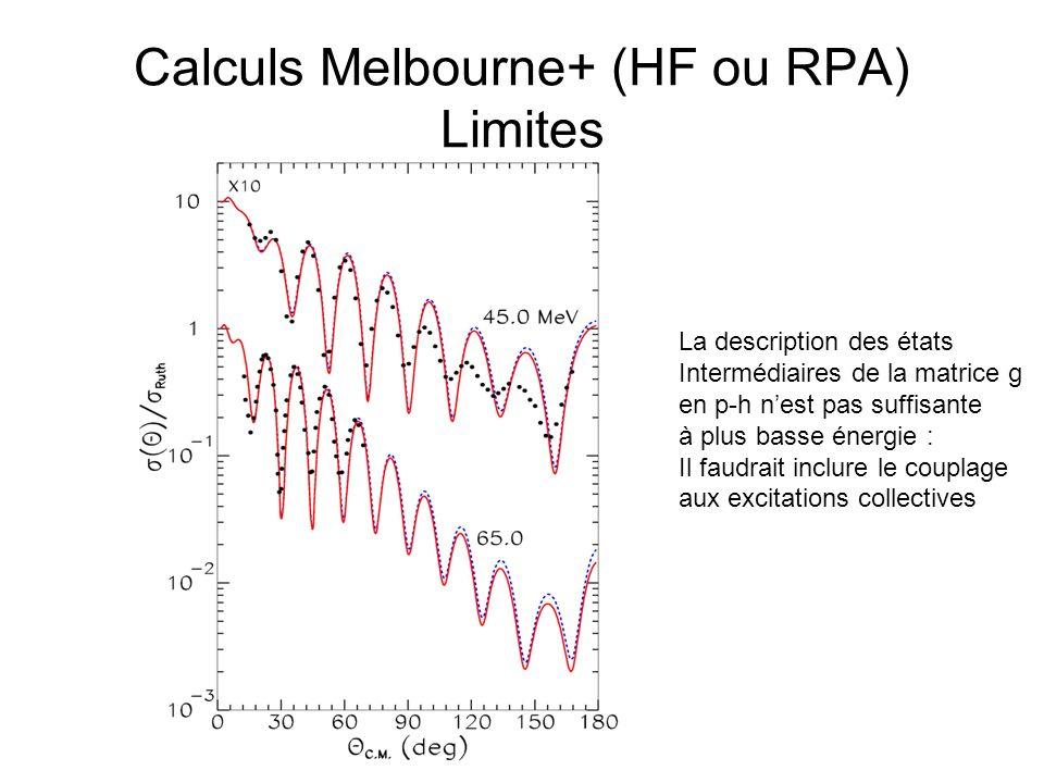 Calculs Melbourne+ (HF ou RPA) Limites La description des états Intermédiaires de la matrice g en p-h nest pas suffisante à plus basse énergie : Il fa