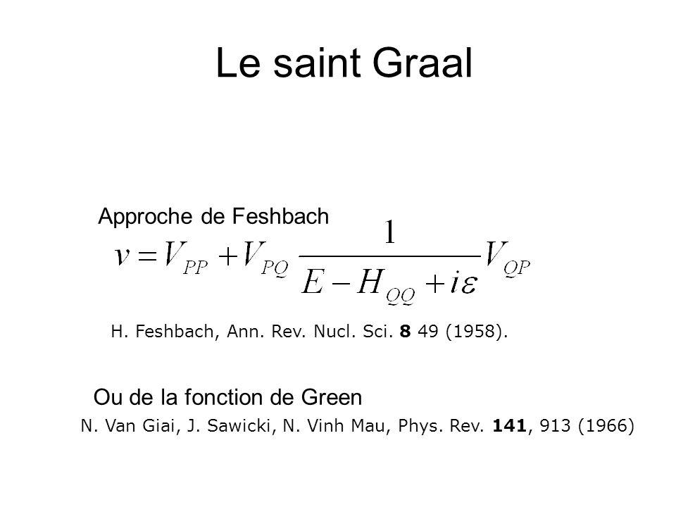 Le saint Graal H. Feshbach, Ann. Rev. Nucl. Sci. 8 49 (1958). N. Van Giai, J. Sawicki, N. Vinh Mau, Phys. Rev. 141, 913 (1966) Approche de Feshbach Ou