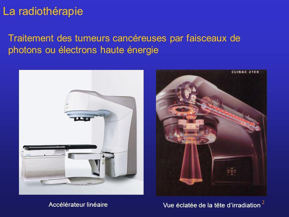 3 La radiothérapie Effets biologiques des rayonnements ionisants : – effet direct : cassure de lADN – effet indirect : radiolyse de leau radicaux libres très réactifs Capacité de réparation des cellules normales > cellules tumorales Effet différentiel sur lequel se base la radiothérapie