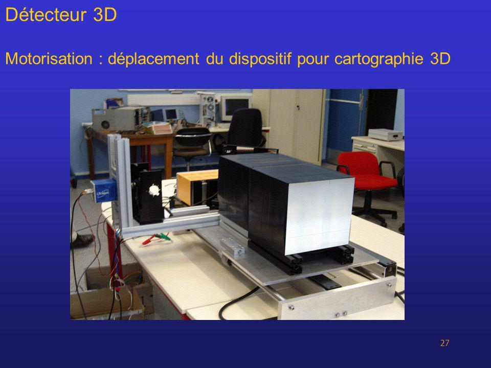 27 Motorisation : déplacement du dispositif pour cartographie 3D Détecteur 3D