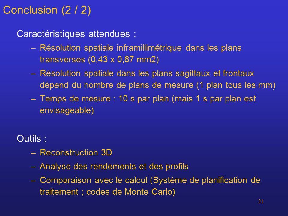 31 Conclusion (2 / 2) Caractéristiques attendues : –Résolution spatiale inframillimétrique dans les plans transverses (0,43 x 0,87 mm2) –Résolution sp
