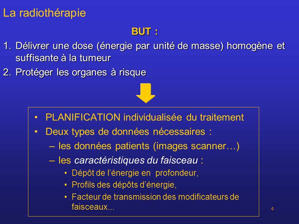 4 La radiothérapie BUT : 1.Délivrer une dose (énergie par unité de masse) homogène et suffisante à la tumeur 2.Protéger les organes à risque PLANIFICA