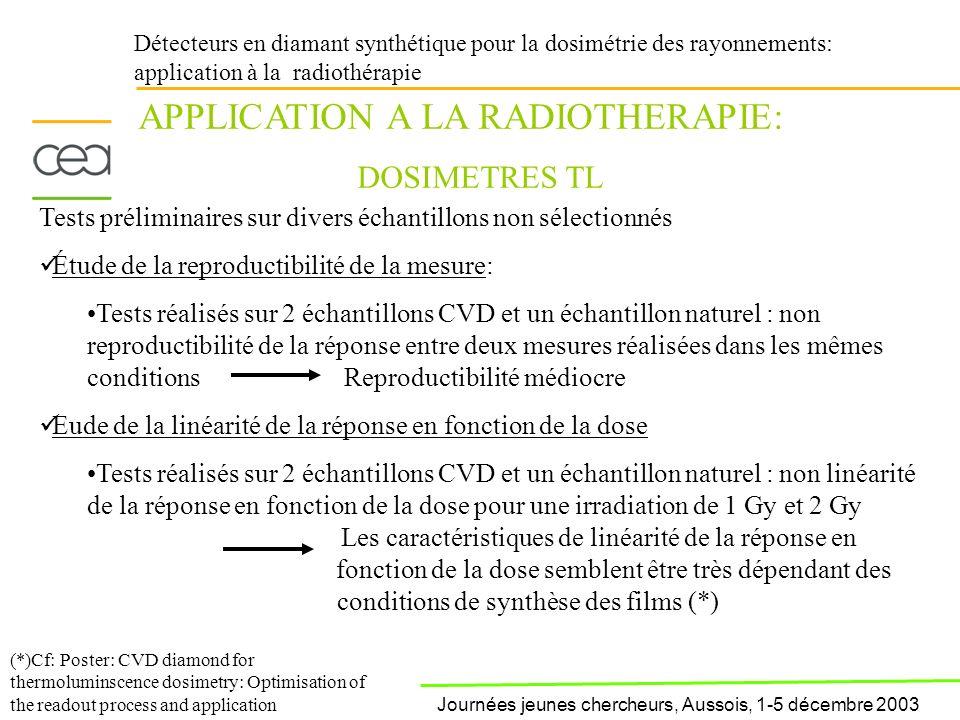 Détecteurs en diamant synthétique pour la dosimétrie des rayonnements: application à la radiothérapie APPLICATION A LA RADIOTHERAPIE: DOSIMETRES TL Te