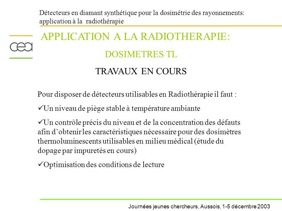 Détecteurs en diamant synthétique pour la dosimétrie des rayonnements: application à la radiothérapie APPLICATION A LA RADIOTHERAPIE: DOSIMETRES TL TR