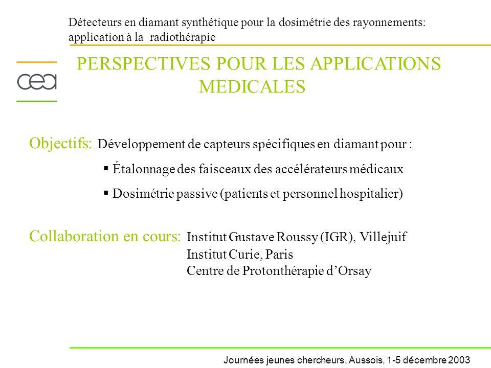 Détecteurs en diamant synthétique pour la dosimétrie des rayonnements: application à la radiothérapie PERSPECTIVES POUR LES APPLICATIONS MEDICALES Obj
