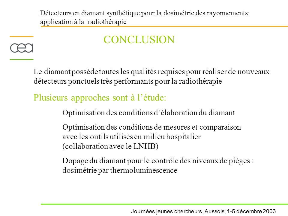 Détecteurs en diamant synthétique pour la dosimétrie des rayonnements: application à la radiothérapie CONCLUSION Le diamant possède toutes les qualité