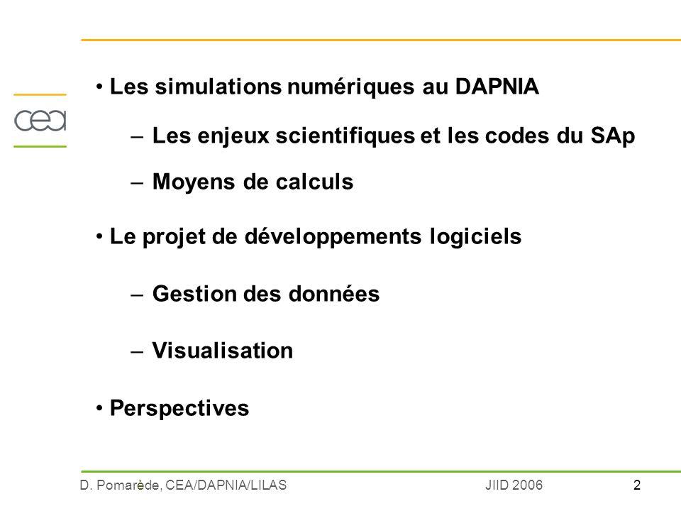 2D. Pomarède, CEA/DAPNIA/LILASJIID 2006 Les simulations numériques au DAPNIA –Les enjeux scientifiques et les codes du SAp –Moyens de calculs Le proje