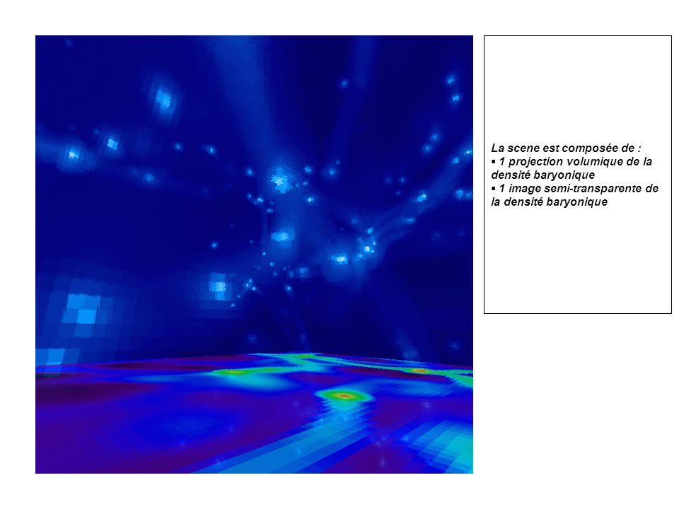 La scene est composée de : 1 projection volumique de la densité baryonique 1 image semi-transparente de la densité baryonique