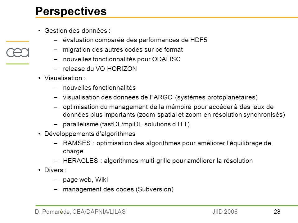 28D. Pomarède, CEA/DAPNIA/LILASJIID 2006 Perspectives Gestion des données : –évaluation comparée des performances de HDF5 –migration des autres codes