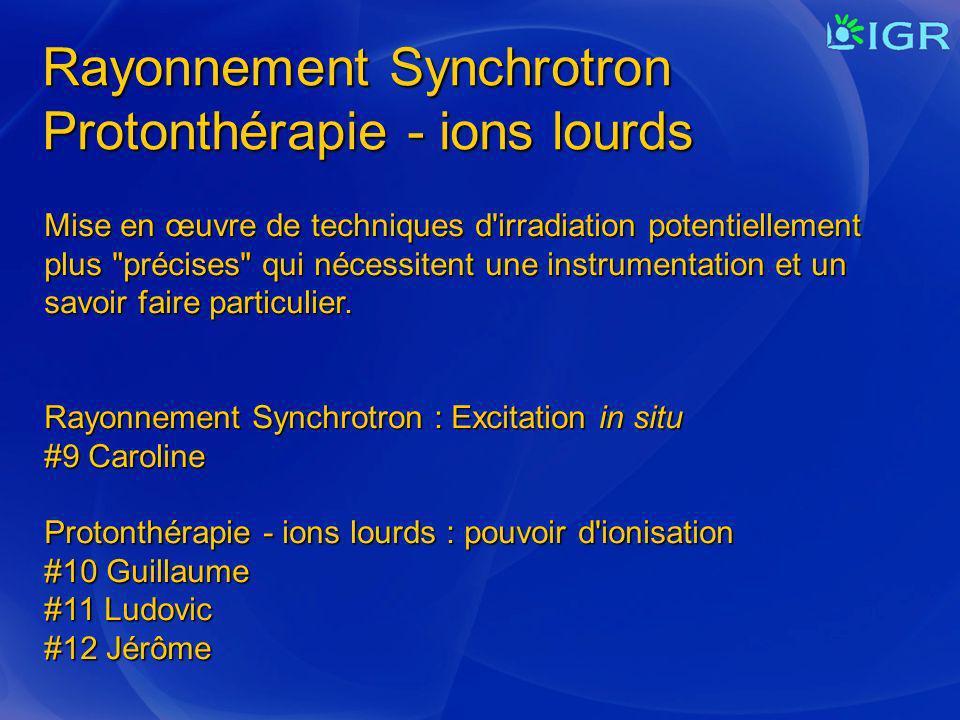 Rayonnement Synchrotron Protonthérapie - ions lourds Mise en œuvre de techniques d'irradiation potentiellement plus