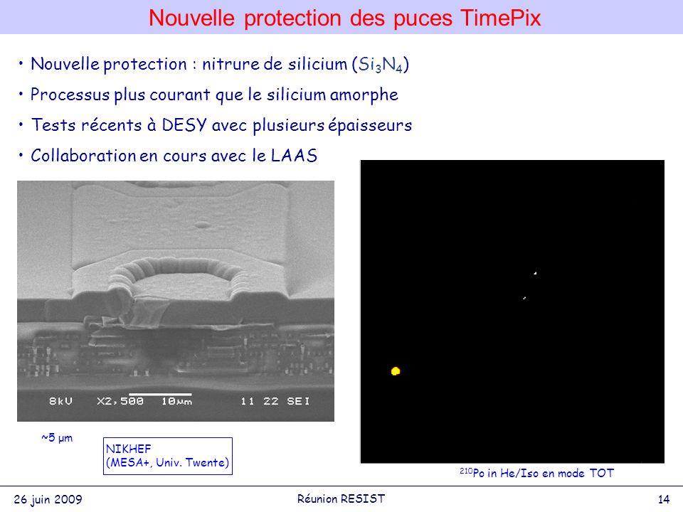 Nouvelle protection des puces TimePix 26 juin 2009 14 Réunion RESIST 450V 100V Nouvelle protection : nitrure de silicium (Si 3 N 4 ) Processus plus courant que le silicium amorphe Tests récents à DESY avec plusieurs épaisseurs Collaboration en cours avec le LAAS NIKHEF (MESA+, Univ.