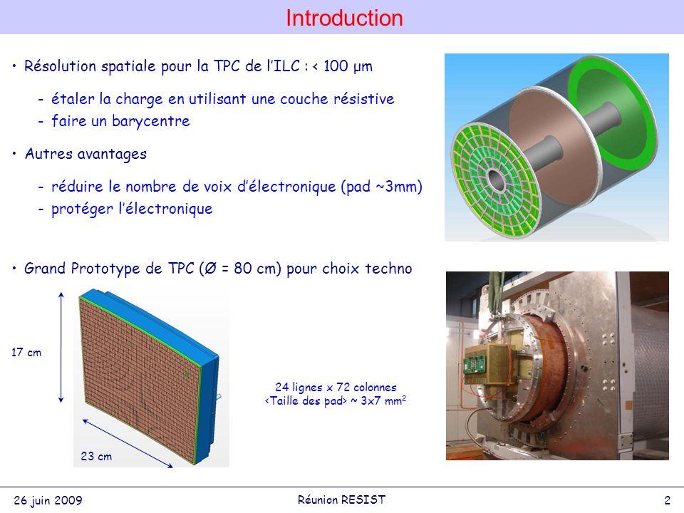 Introduction 26 juin 2009 2 Réunion RESIST Résolution spatiale pour la TPC de lILC : < 100 μm -étaler la charge en utilisant une couche résistive -faire un barycentre Autres avantages -réduire le nombre de voix délectronique (pad ~3mm) -protéger lélectronique Grand Prototype de TPC (Ø = 80 cm) pour choix techno 24 lignes x 72 colonnes ~ 3x7 mm 2 17 cm 23 cm